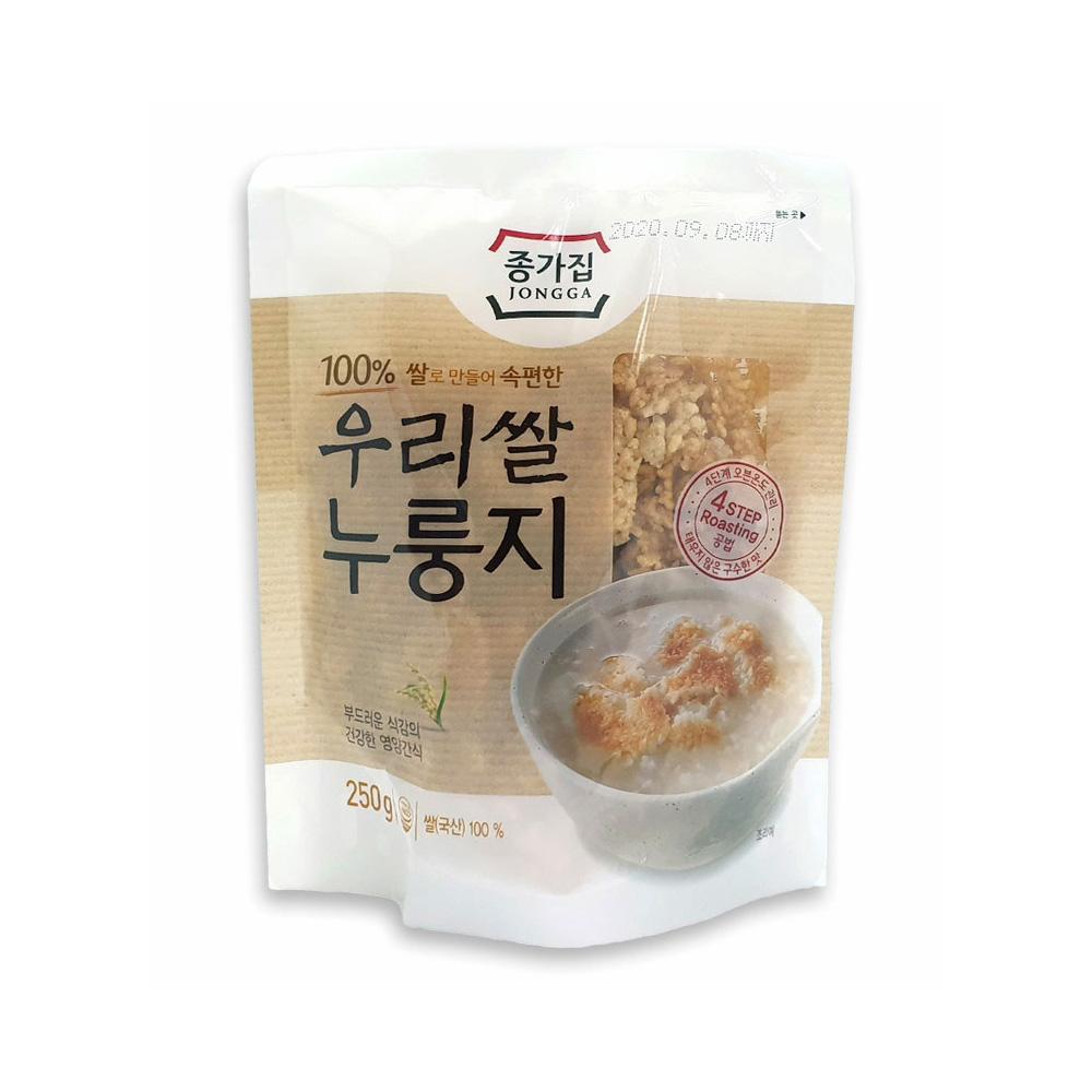 종가집 우리쌀누룽지 250g/ 소포장/ 고소한 간식 누룽지탕 누룽지 우리쌀누룽지 종가집누룽지 국산누룽지