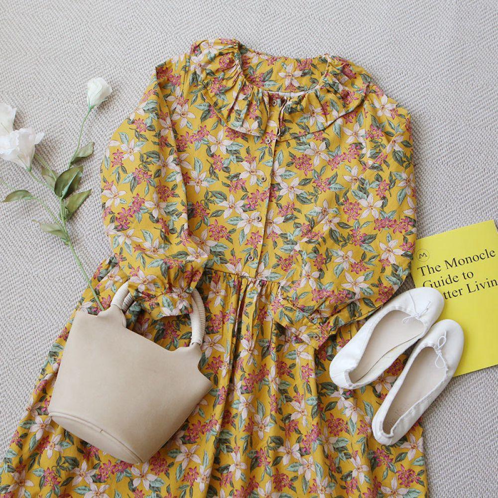 프릴 꽃 원피스 1048392 DRESS 쉬폰 레이스원피스 블랙 Black 그레이 Gray 옐로우 Yellow 캐주얼