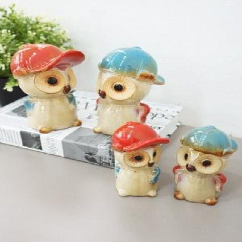 야구 모자 부엉이 2P (소.대) 도자기소품 부엉이소품 부엉이장식품 장식소품 장식인형