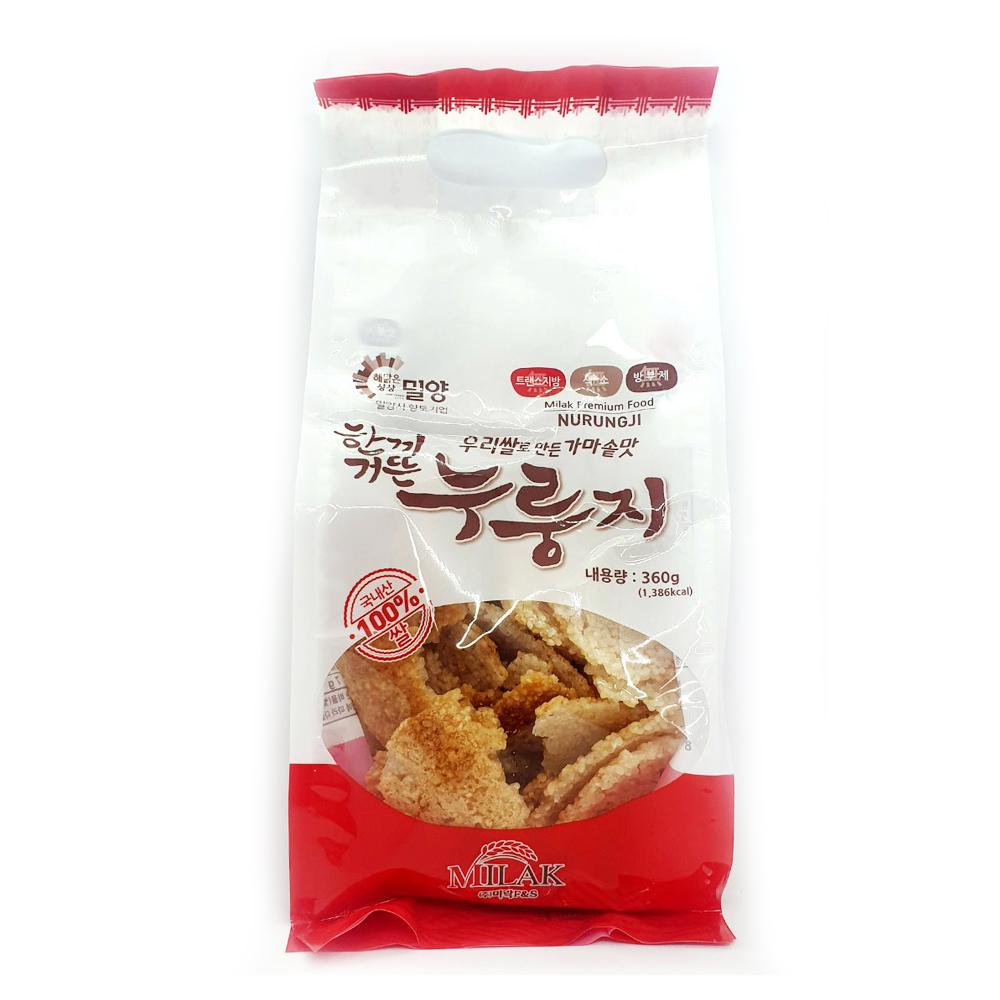 한끼거뜬 우리쌀누룽지 360g/ 無방부제/ 간식/ 간편식 가마솥누룽지 가마솥맛누룽지 우리쌀누룽지 미락누룽지 국산누룽지