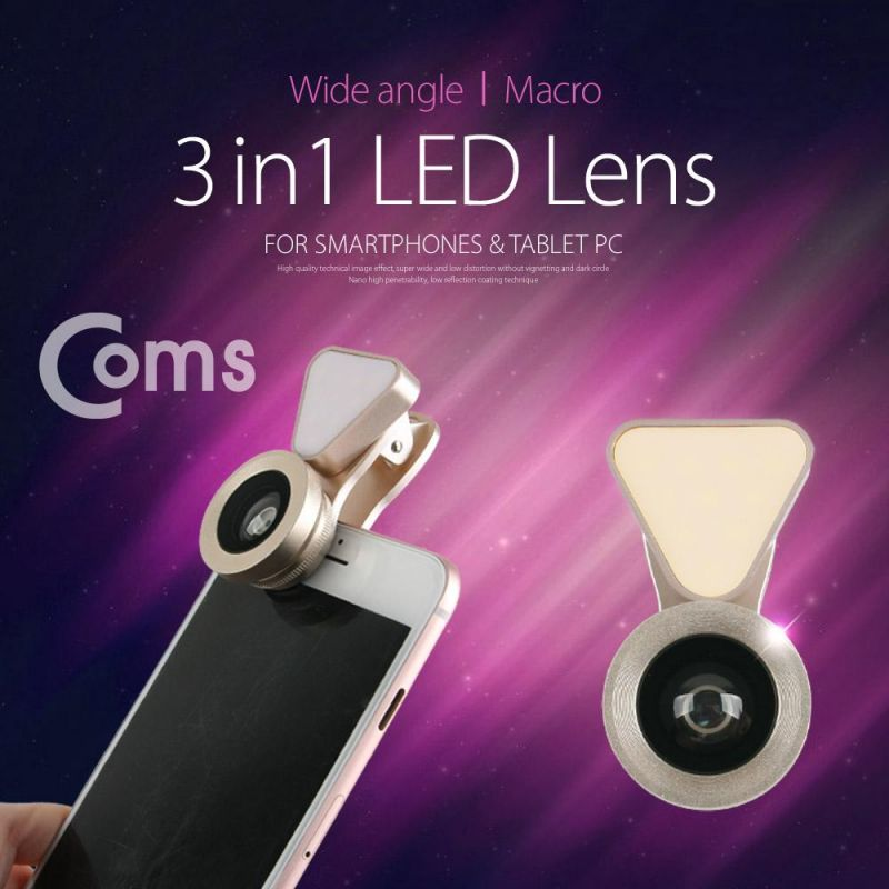 Coms 스마트폰 카메라 확대경 렌즈3 in 1 LED Light - Macro Wide