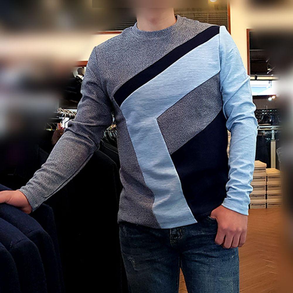 HARRIS 사선포인트 라운드니트 그레이 GR-TR6013 니트 컬러니트 라운드니트 베이직니트 젠틀안트니트 젠틀안트 가을니트 신상니트 남자니트 프리사이즈니트 스트라이프니트 knit