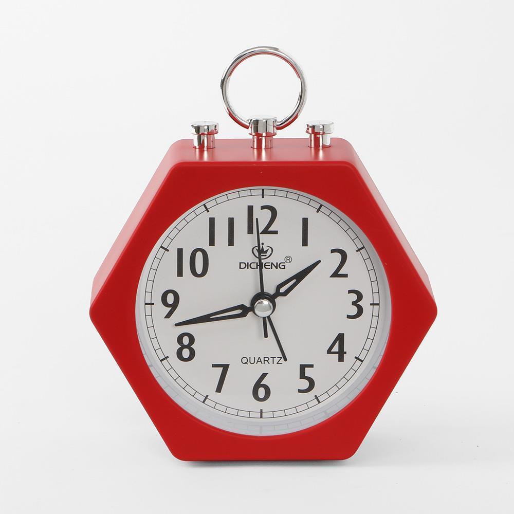 레드 알람시계 무소음 육각 인테리어시계 탁상시계 생활용품 무소음시계 인테리어시계 탁상시계 알람시계