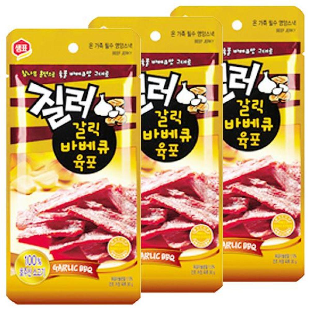 샘표)갈릭 바비큐 육포 30g x 15개 바비큐 간식 안주 쇠고기 소고기