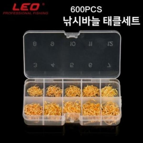 LEO 낚시바늘 태클세트 600 PCS 케이스포함 덕용낚시 낚시바늘 바늘 덕용낚시 낚시용품 바늘세트