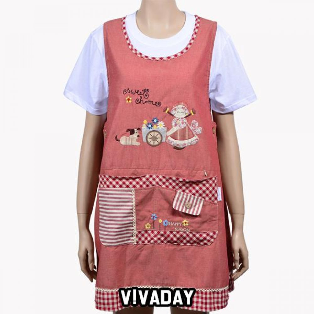 VIVADAY-SC337 리빙 예쁜 꽃수레 앞치마 앞치마 주방 주방용품 주방앞치마 여성앞치마 여자앞치마 요리 저녁