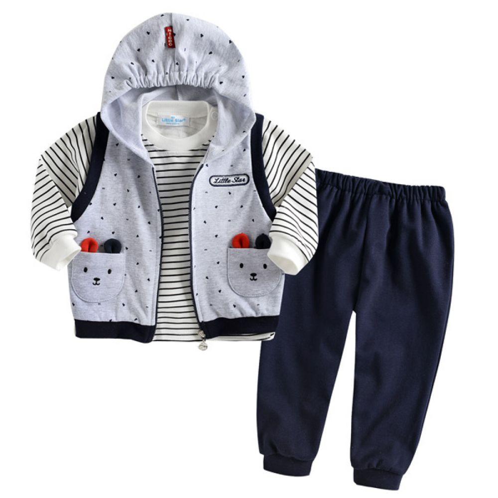 한국생산 후드조끼 상하복 3종세트(0-24개월) 202552 조끼 티셔츠 바지 유아복 후드조끼 아기옷 백일옷 백일복 아기옷 유아외출복 아기외출복 엠케이 조이멀티