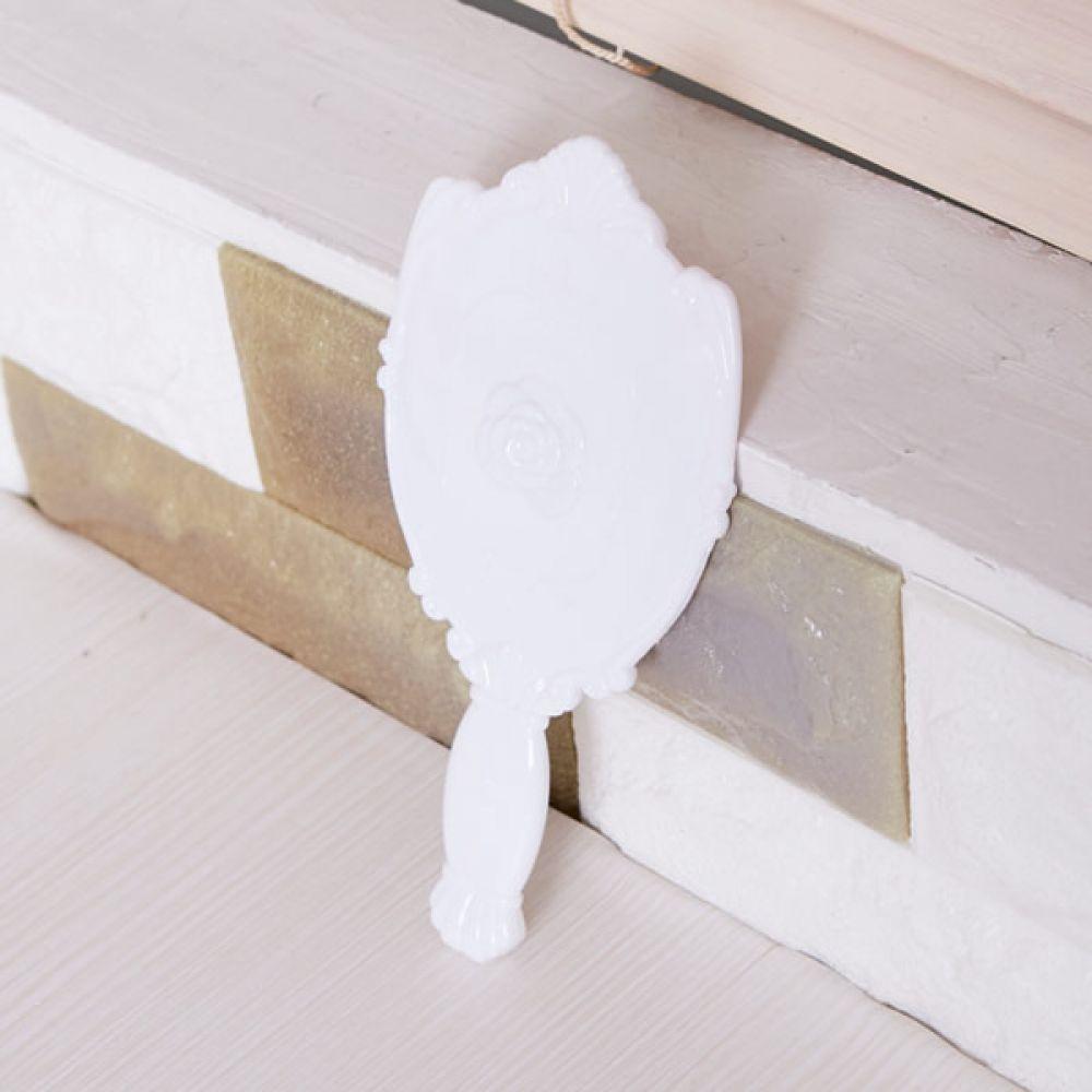 장미 손거울 중 화이트 여성용품 화장거울 소품거울 거울 미니거울 휴대용거울 휴대거울 화장거울