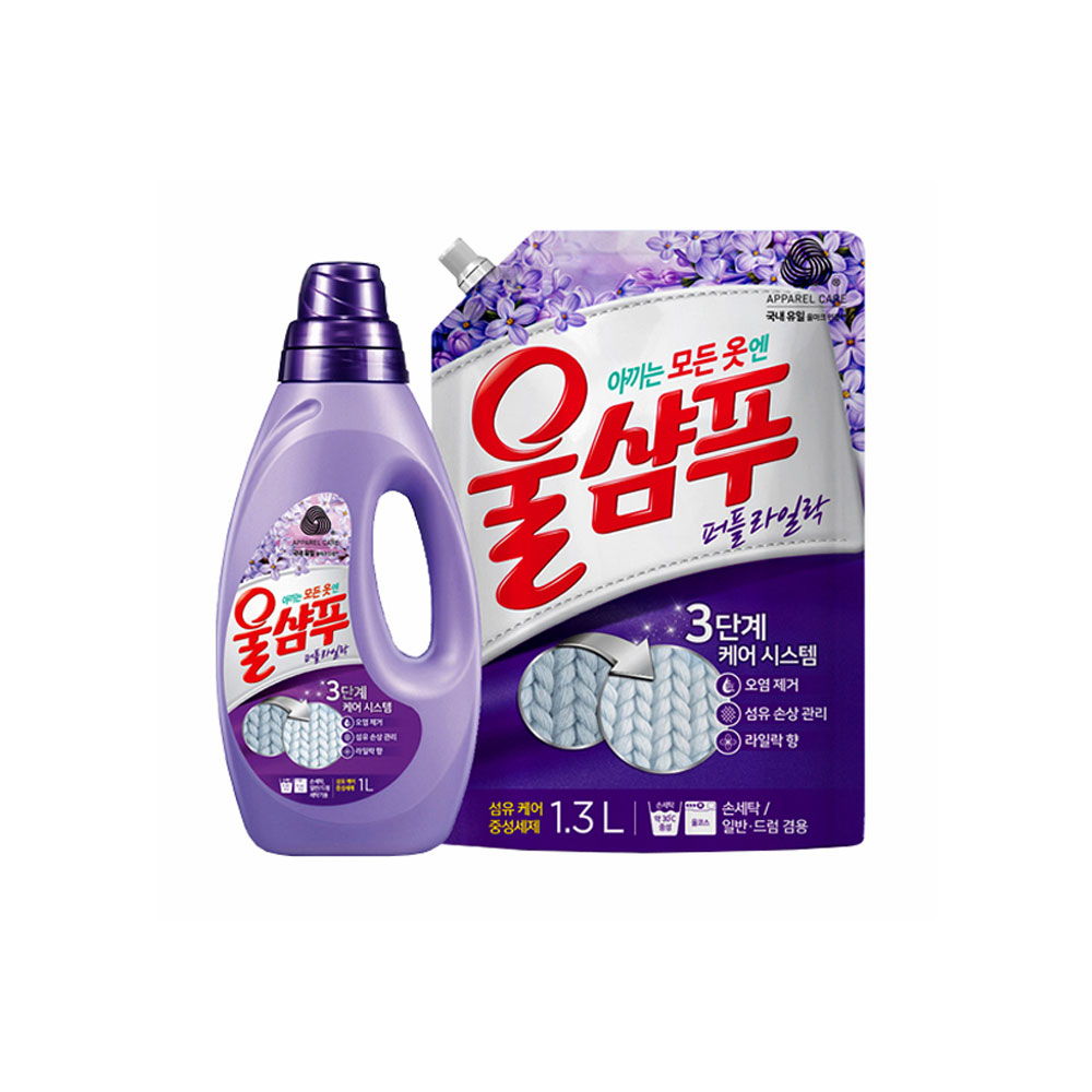 애경 울샴푸 용기 1L 섬유유연제 세탁보조제 세탁세제 액체세탁세제 세탁세제일반용 세탁세제드럼용 액체세제 가루세제