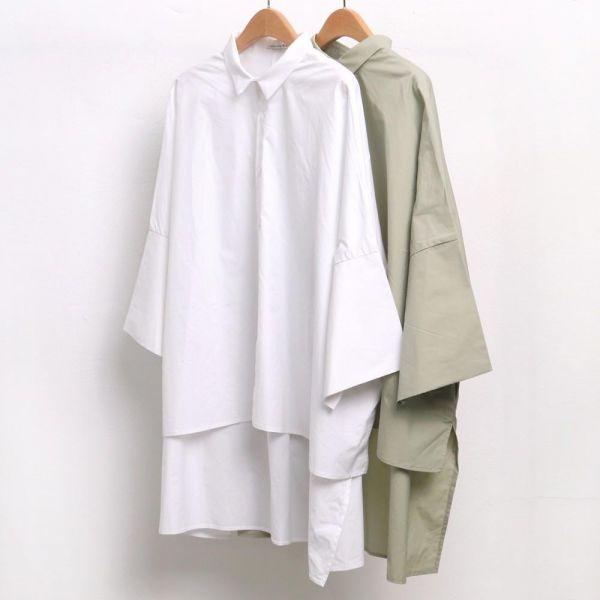 미시옷 4680L903 트임 오버핏 남방 WC 빅사이즈 여성의류 빅사이즈 여성의류 미시옷 임부복 빅무지언발남방