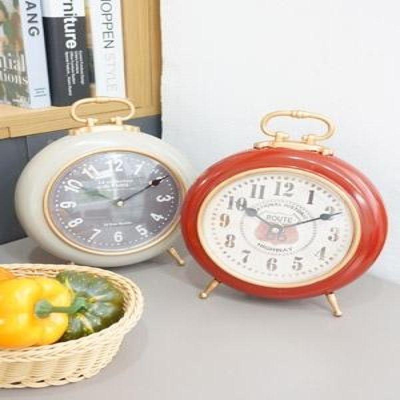 빈티지 컬러 원형 탁상시계
