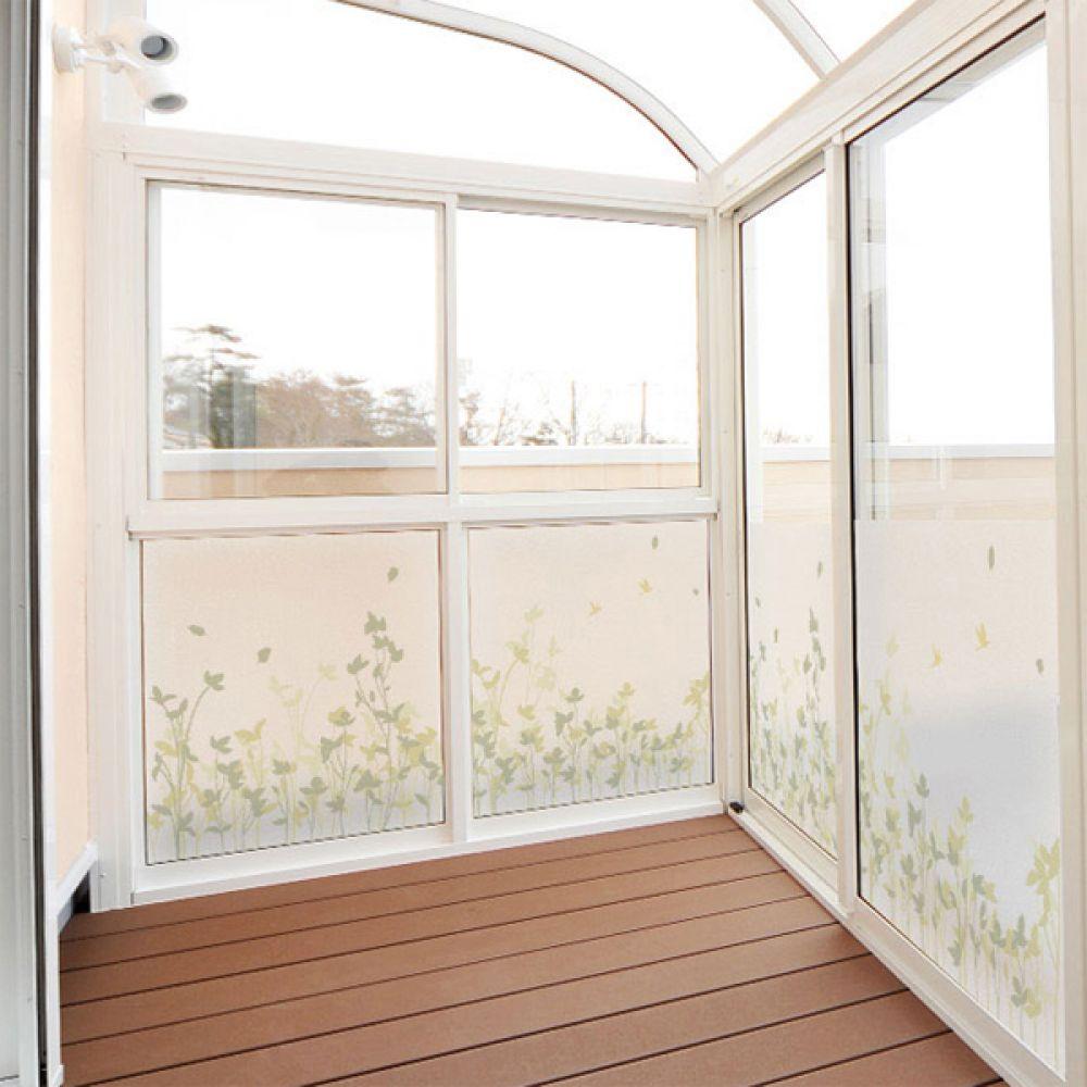 무점착유리시트지 dmph123_m 풀잎이피어있는정원 창문시트지 글라스시트지 유리창시트지 무점착시트지 유리시트지