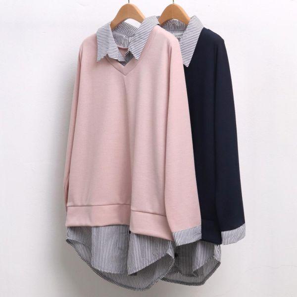 미시옷 4650L903 배색 카라 줄지 셔츠 OL 빅사이즈 여성의류 빅사이즈 여성의류 미시옷 임부복 시즌줄지배색셔츠