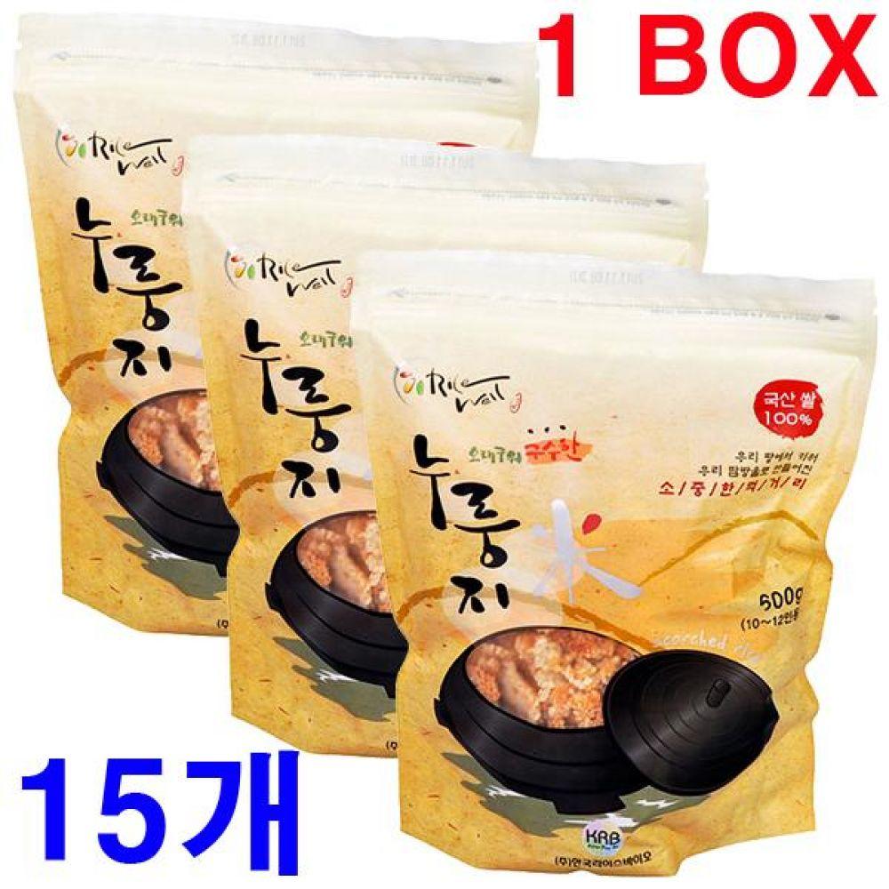 오래구워 구수한 누룽지 500gx15개(한박스) 국산 간식 죽 영양식 노인 백미 쌀 과자 가마솥 누렁지 탕 옛날 선식 수제