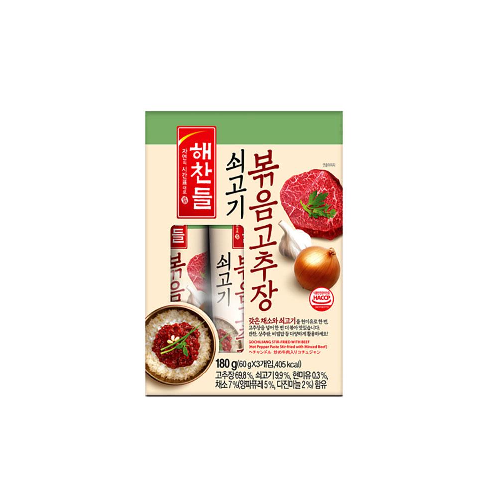 CJ 해찬들 쇠고기볶음고추장 60g 3개입 볶음장 비빔장 고추장 볶음장 비빔소스 소스 볶음고추장