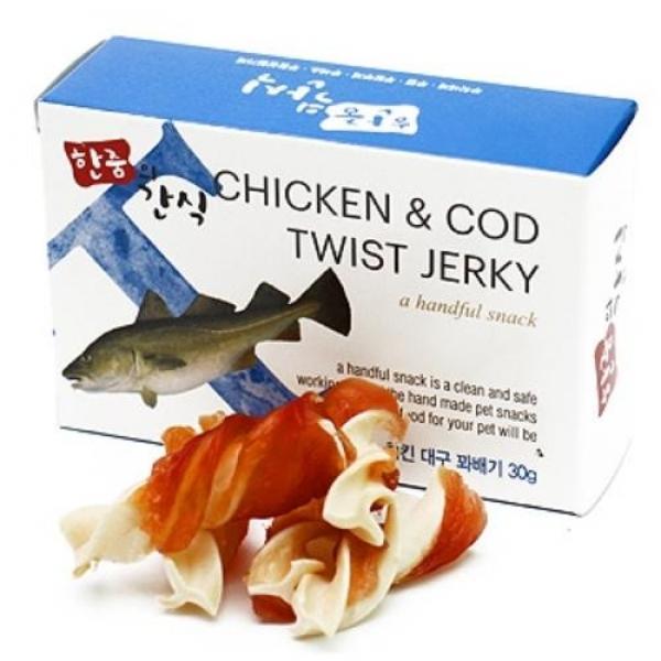 한줌의 수제간식 30g - 치킨대구 꽈배기 애완용품 개껌 강아지사료 강아지육포 애견간식 수제간식 애견영양간식 통조림 애견용품