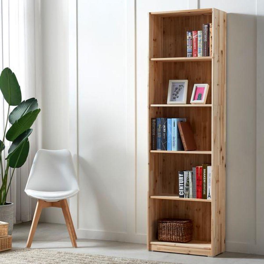 삼나무 원목 5단 책장 600 책장 책꽂이 책꽃이 3단책장 5단책장