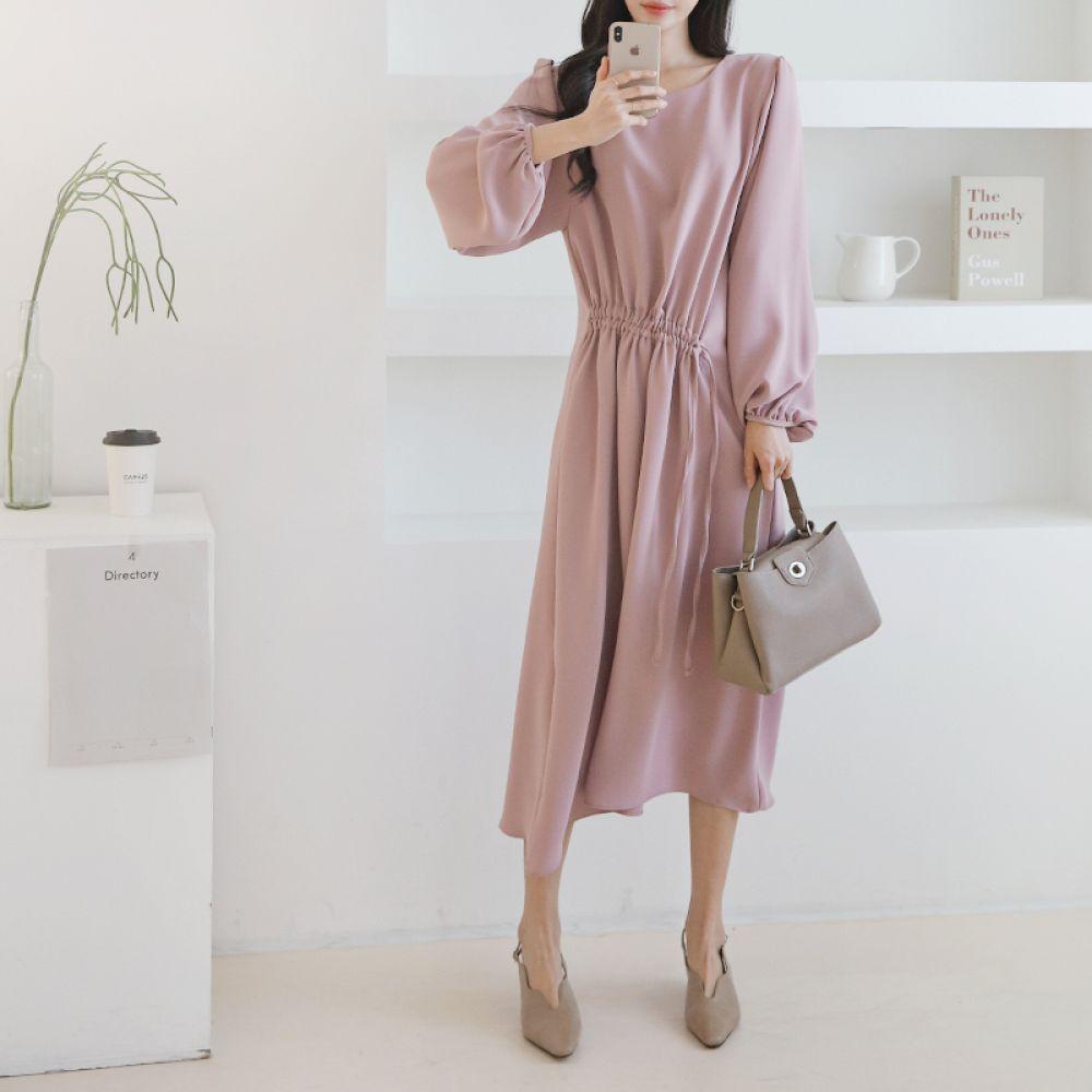 셔링 쉬폰 롱원피스 1047998 DRESS 쉬폰 레이스원피스 베이지 Beige 블랙 Black 핑크 Pink 캐주얼