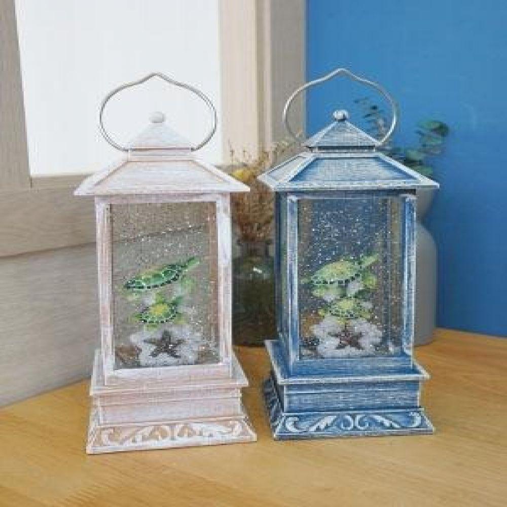 거북이 사각 LED 랜턴 (블루.화이트) 인테리어소품 오르골 미니어처소품 장식소품 랜턴