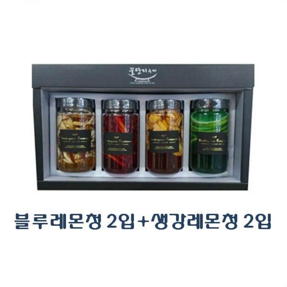 (수제 과일청 선물세트) 블루레몬청 300ml(2입) x 생강레몬청 300ml(2입)_100퍼센트 원당만 사용 청 조청 과일 조림 단맛