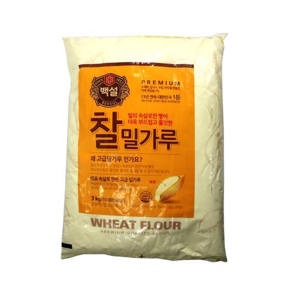 백설 찰밀가루3kg 백설 찰밀가루 밀가루 식자재 칼국수