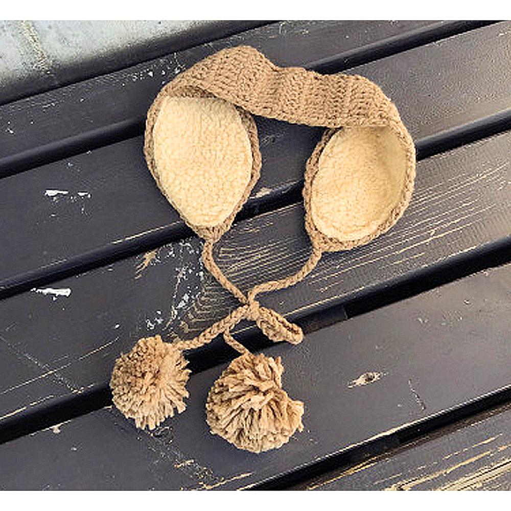 니트 방울 귀도리 브라운 귀돌이 패션귀마개 귀덮개 뜨개귀도리 방한귀마개 귀돌이 귀덮개 보온귀마개