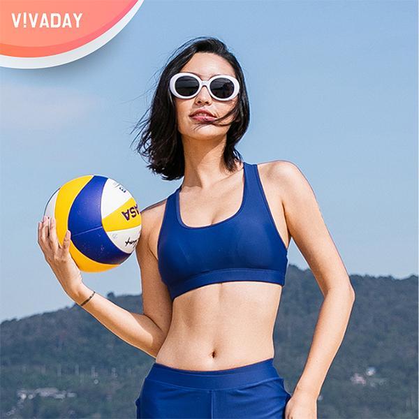 VIVA-I47 블루 베이직 브라탑 수영복 래시가드 래시가드팬츠 기능성수영복 비키니 비치웨어