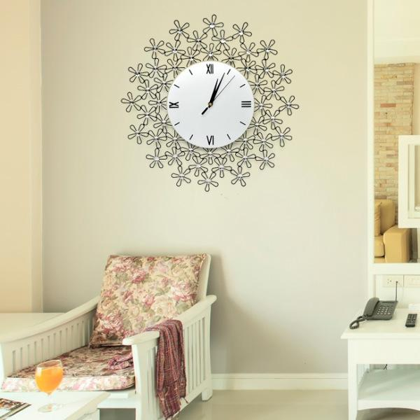 JHC컴퍼니 캐모마일 크리스탈 벽시계(46cm) 벽시계 탁상시계 시계 클래식시계 엔틱벽시계
