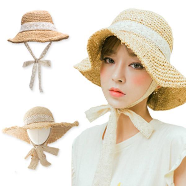 레이스 리본 여자 밀짚 버킷햇 여성 벙거지 여름 챙모자 모자 밀짚모자 왕골모자 여름모자 여성모자 레이스모자