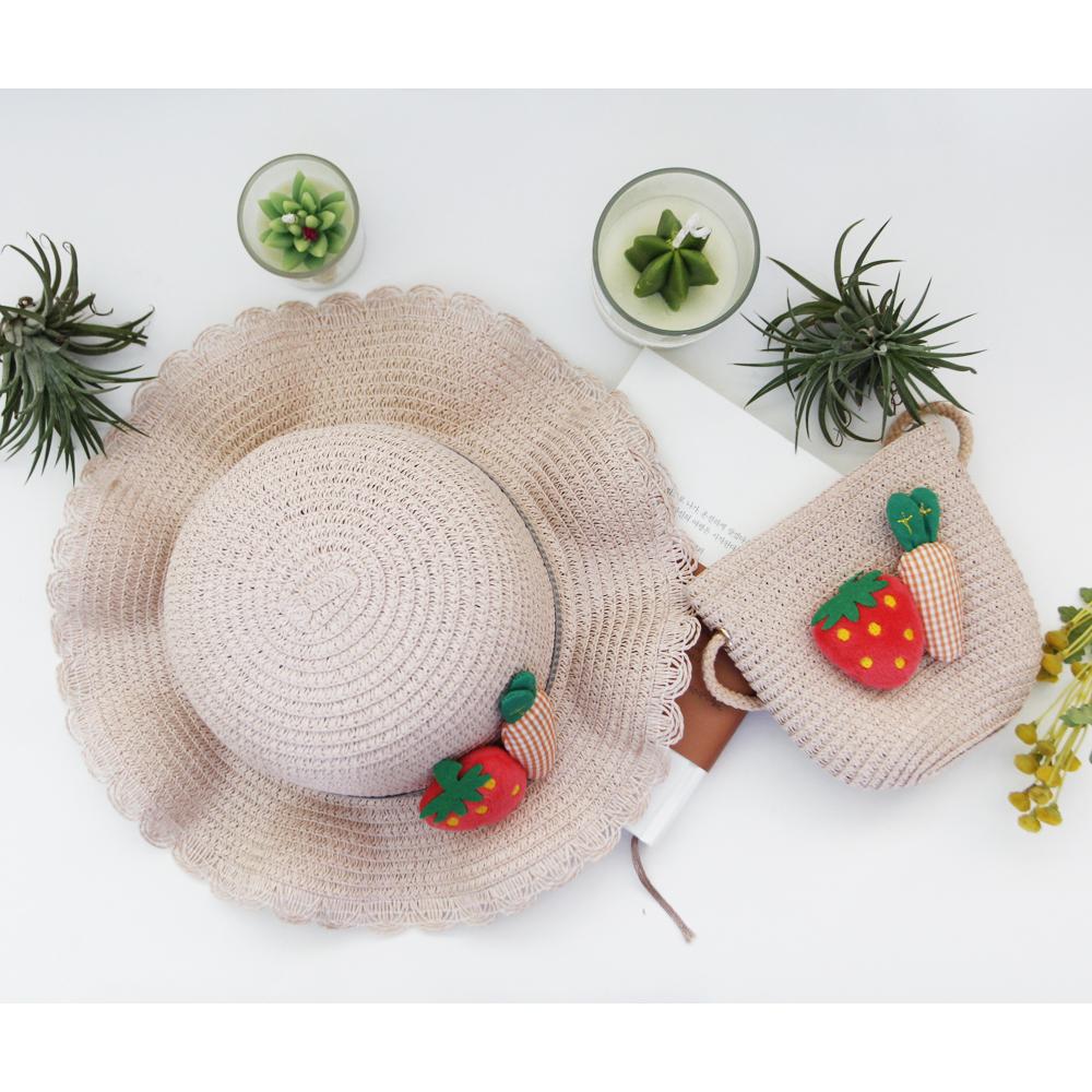 딸기당근 페이퍼 모자 가방 세트(4colors) 페이퍼햇 페이퍼백 피서모자 피서가방 여름모자 여름가방 밀집모자 밀집가방 어린이가방 어린이여름모자