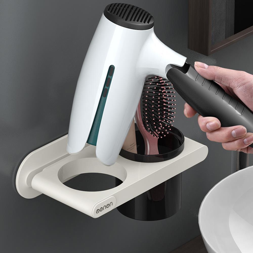 화이트 수납형 드라이기거치대 욕실걸이 빗꽂이 빗보관함 다용도걸이 드라이기걸이 욕실정리 고데기선반