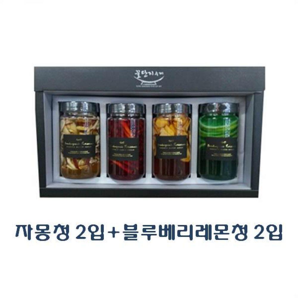 (수제 과일청 선물세트) 자몽청 300ml(2입) x 블루베리레몬청 300ml(2입)_100퍼센트 원당만 사용 청 조청 과일 조림 단맛