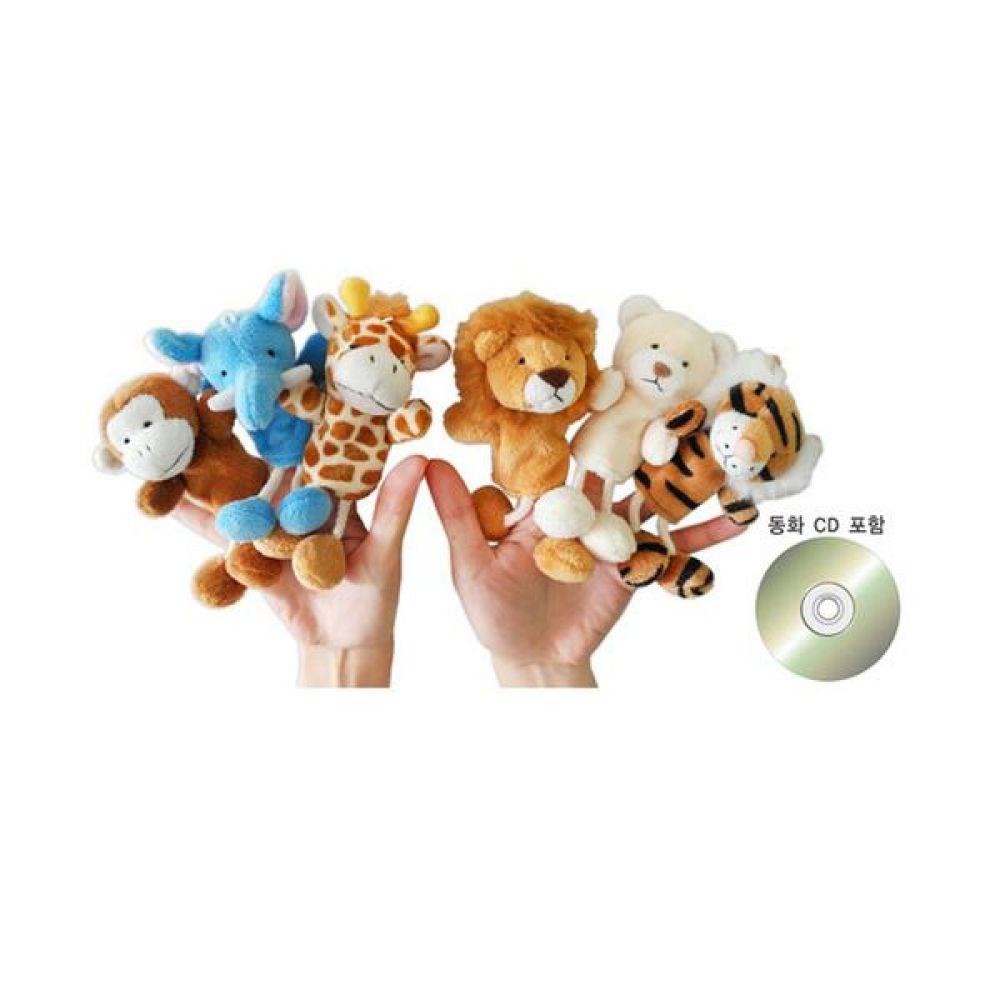 손가락인형 야생동물 6종와 이야기 CD 완구 문구 장난감 어린이 캐릭터 학습 교구 교보재 인형 선물