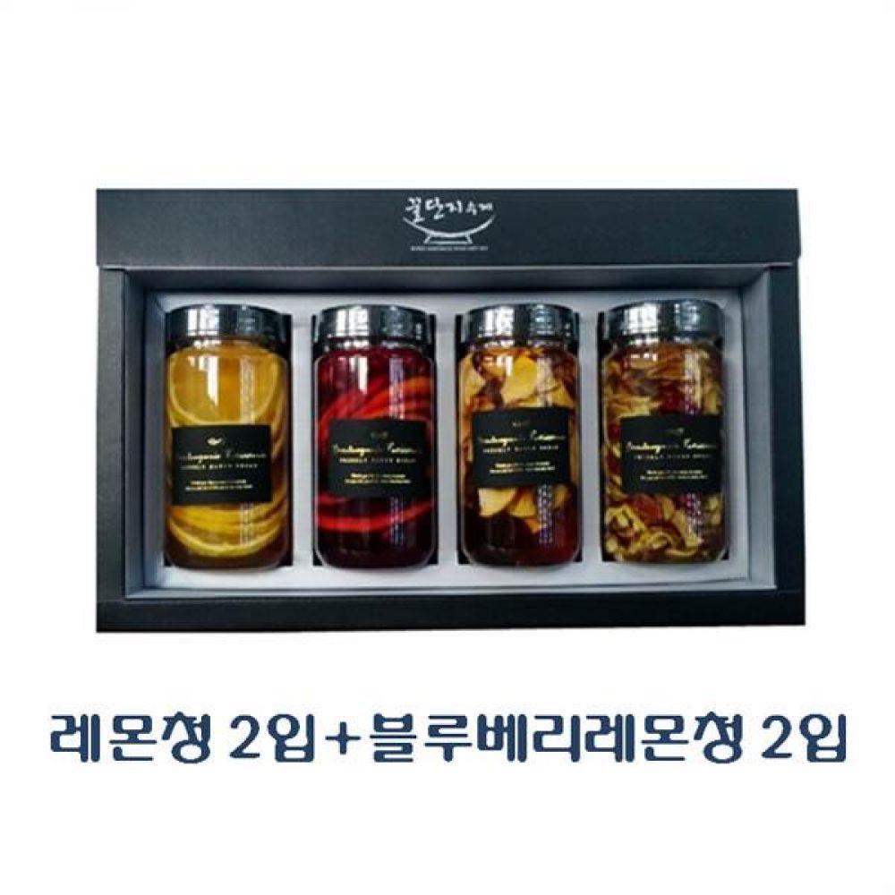 (수제 과일청 선물세트) 레몬청 300ml(2입) x 블루베리레몬청 300ml(2입)_100퍼센트 원당만 사용 청 조청 과일 조림 단맛