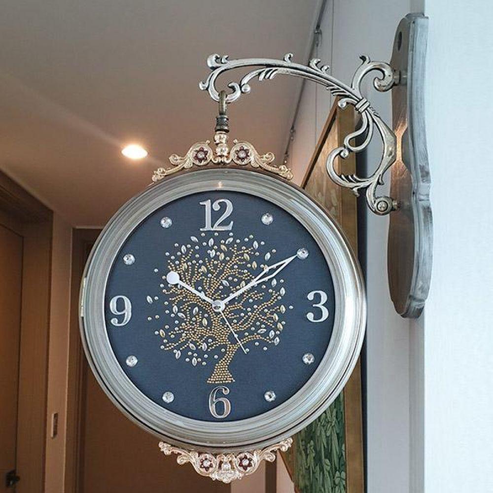 행운나무 펄양면시계 (그레이) 양면시계 양면벽시계 벽시계 벽걸이시계 인테리어벽시계