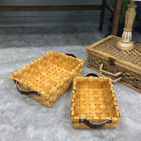 천연 대나무 라탄 가죽 핸들 바구니 밀짚 바스켓 천연 바구니 정리함