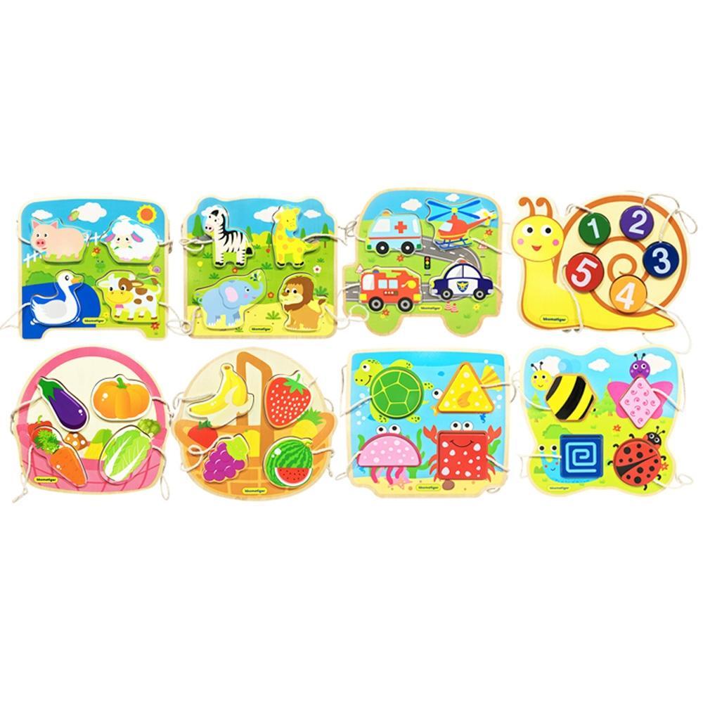 선물 유아 장난감 티거 원목 끈퍼즐 놀이 8종세트 퍼즐 블록 블럭 장난감 유아블럭