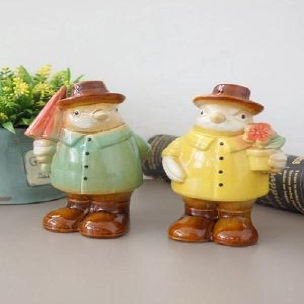 894 모자 부엉이 2P 도자기소품 부엉이소품 장식소품 인테리어소품 장식인형