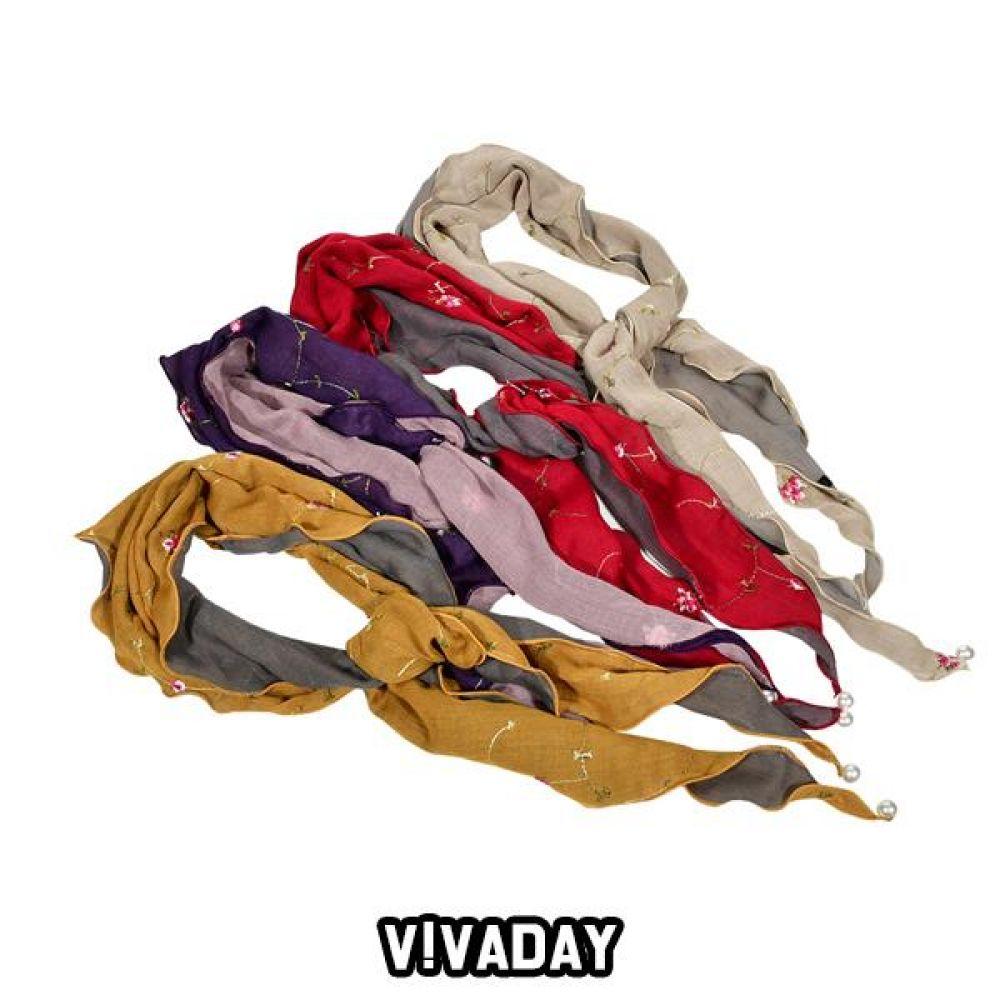 VIVADAY-SC70 삼각 진주 스카프 스카프 여성스카프 쁘띠스카프 마스크 쿨토시 토시 패션잡화 롱스카프