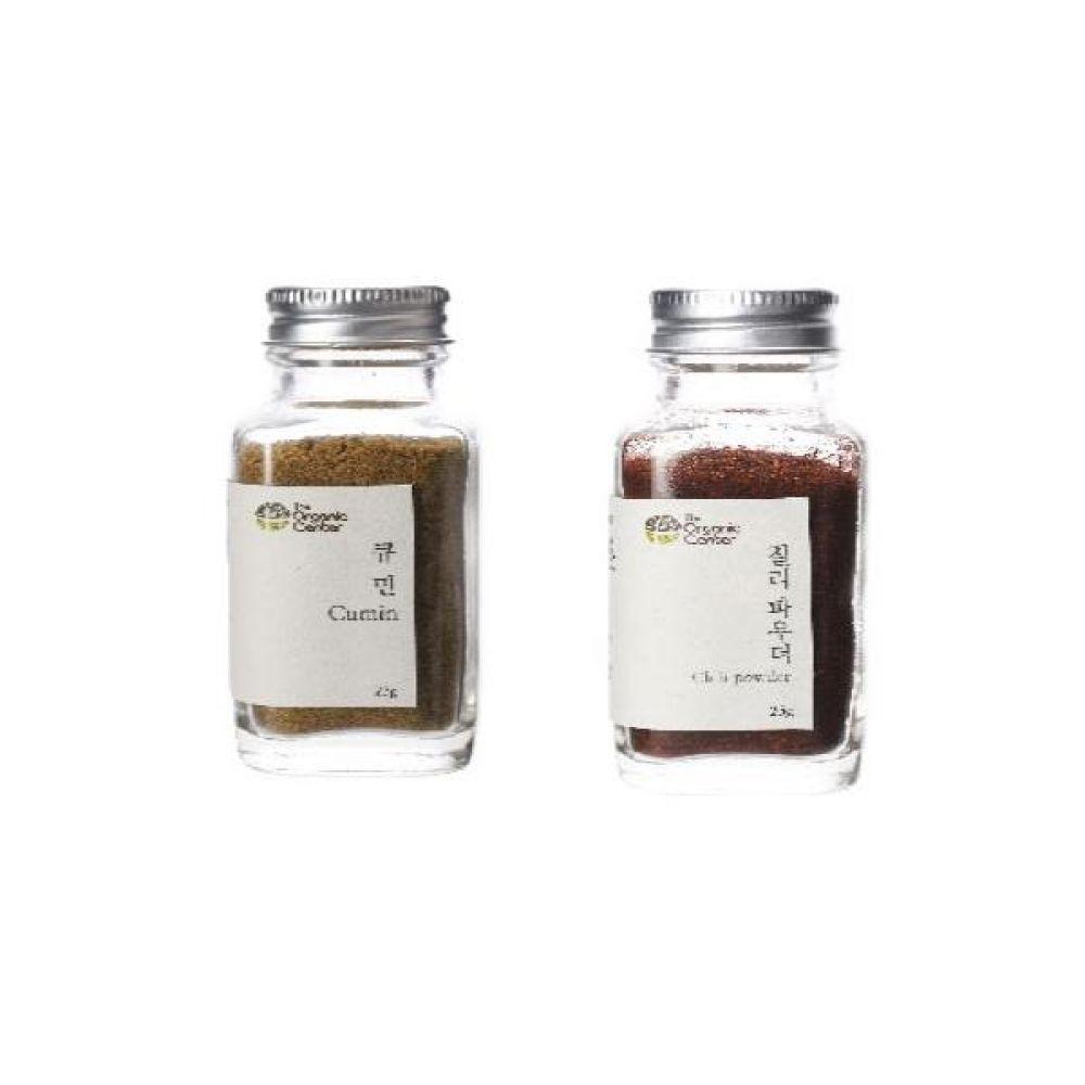 (오가닉 향신료 모음)큐민 파우더 23g과 칠리파우더 25g 건강 견과 조미료 냄새 고기