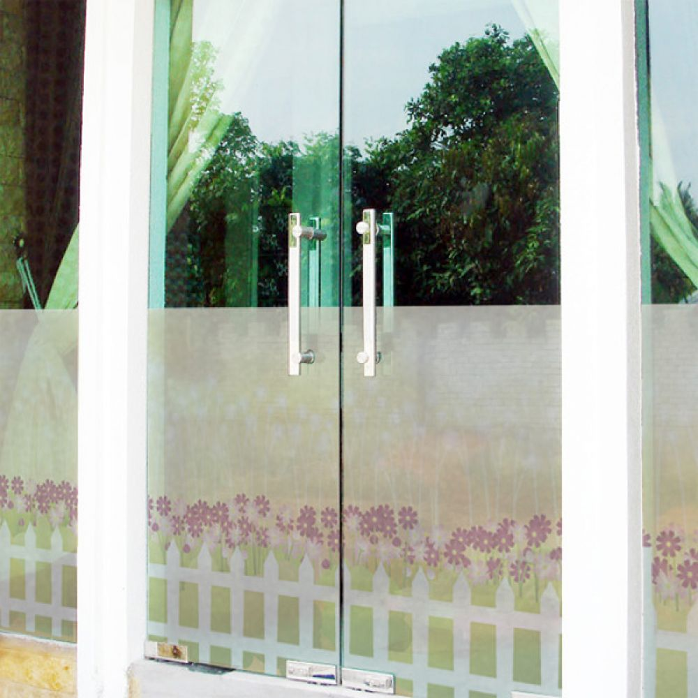 무점착유리시트지 dmis241_m 울타리와 향기로운 꽃밭2 창문시트지 글라스시트지 유리창시트지 무점착시트지 유리시트지