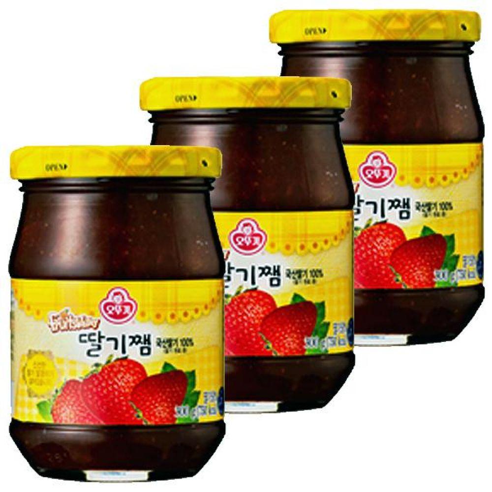 오뚜기)딸기쨈 500g x 6개 국산딸기 달콤 빵 과자 디저트 간식 과일알갱이 쨈 스트로베리 과일 단맛 달달