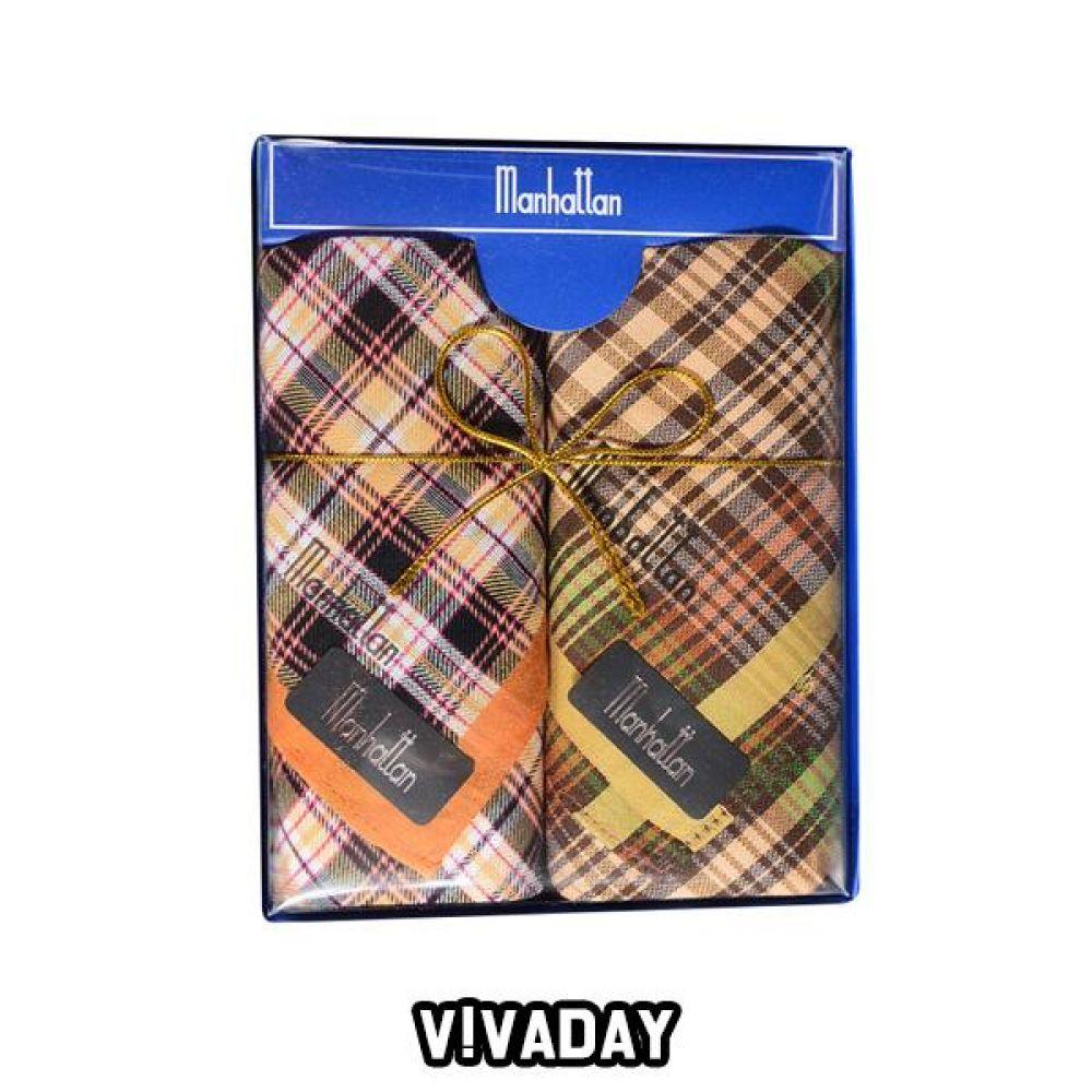 VIVADAY-SC58 세련된 디자인 신사 손수건 2매입 손수건 나염손수건 여성손수건 신사손수건 남성손수건 순면손수건 가제손수건 고급손수건