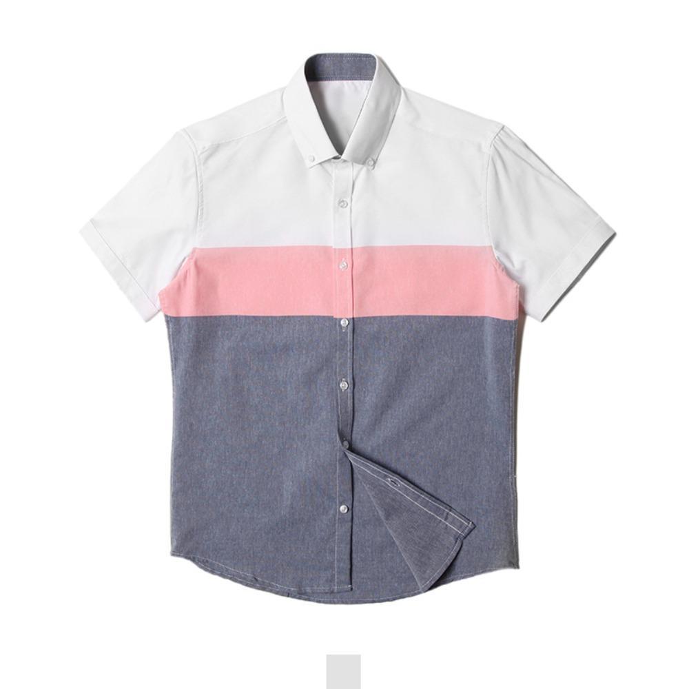 투컬러 핑크배색 남자 반팔셔츠 반팔남방 반팔셔츠 슬림핏셔츠 빅사이즈셔츠 남자셔츠 남자반팔셔츠 캐주얼셔츠 남자여름셔츠 반팔와이셔츠 남자와이셔츠