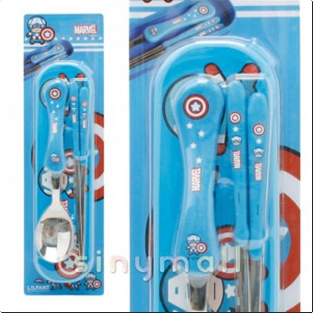(마블) 캡틴아메리카 주니어핸들수저세트 (059309) 캐릭터 캐릭터상품 생활잡화 잡화 유아용품