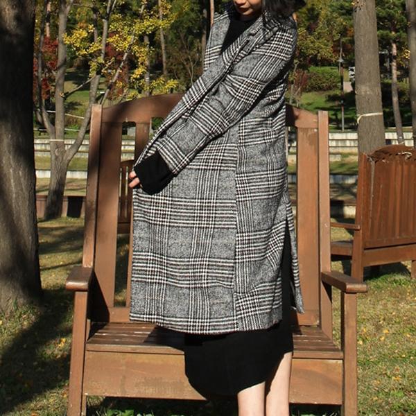 그레이컬러 슬림 롱 체크코트 여성 아웃터 코트 퍼코트 겨울옷 여자겨울옷 롱패딩 하프코트 이쁜코트