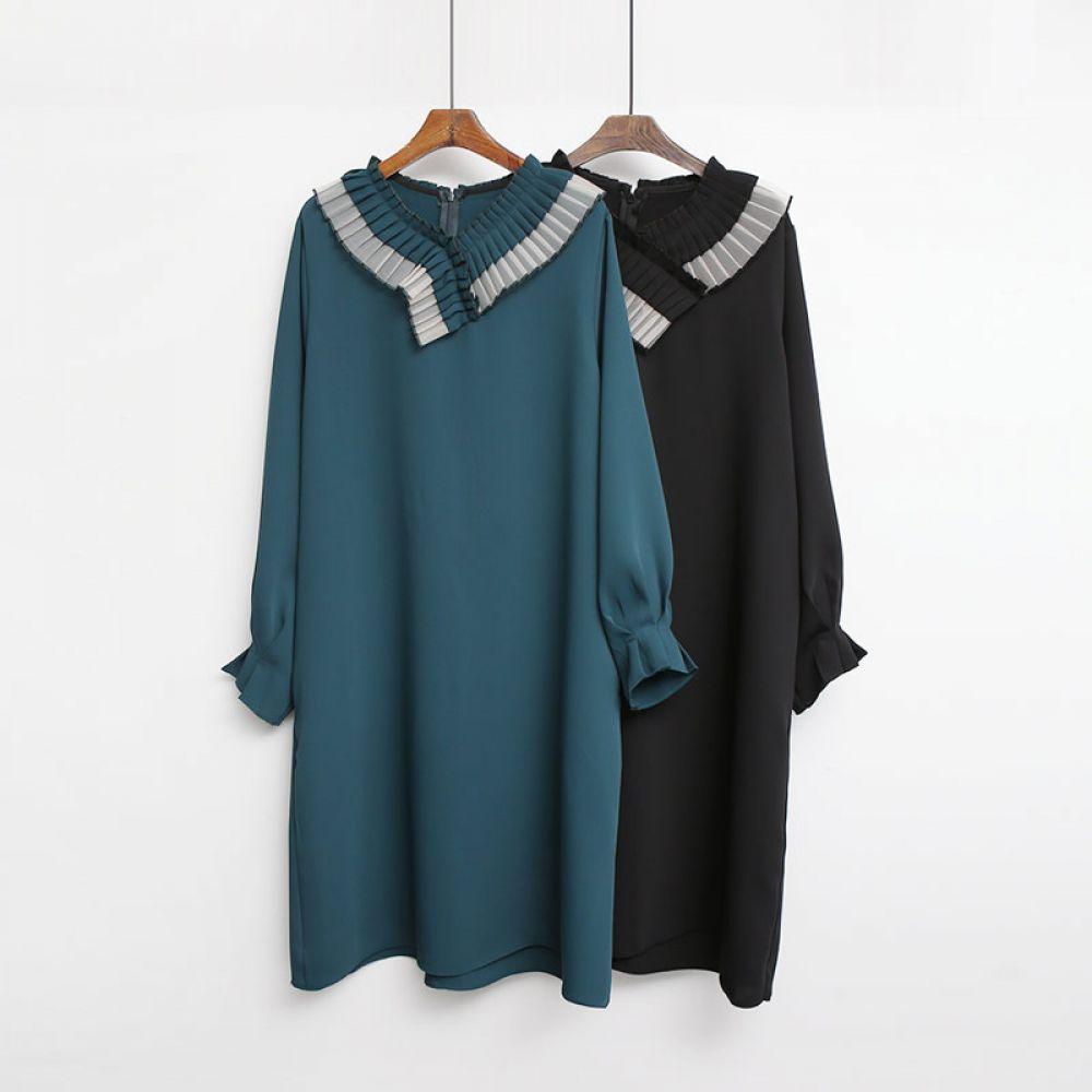 쉬폰 주름원피스 1048451 DRESS 쉬폰 레이스원피스 블랙 Black 그린 Green 미시