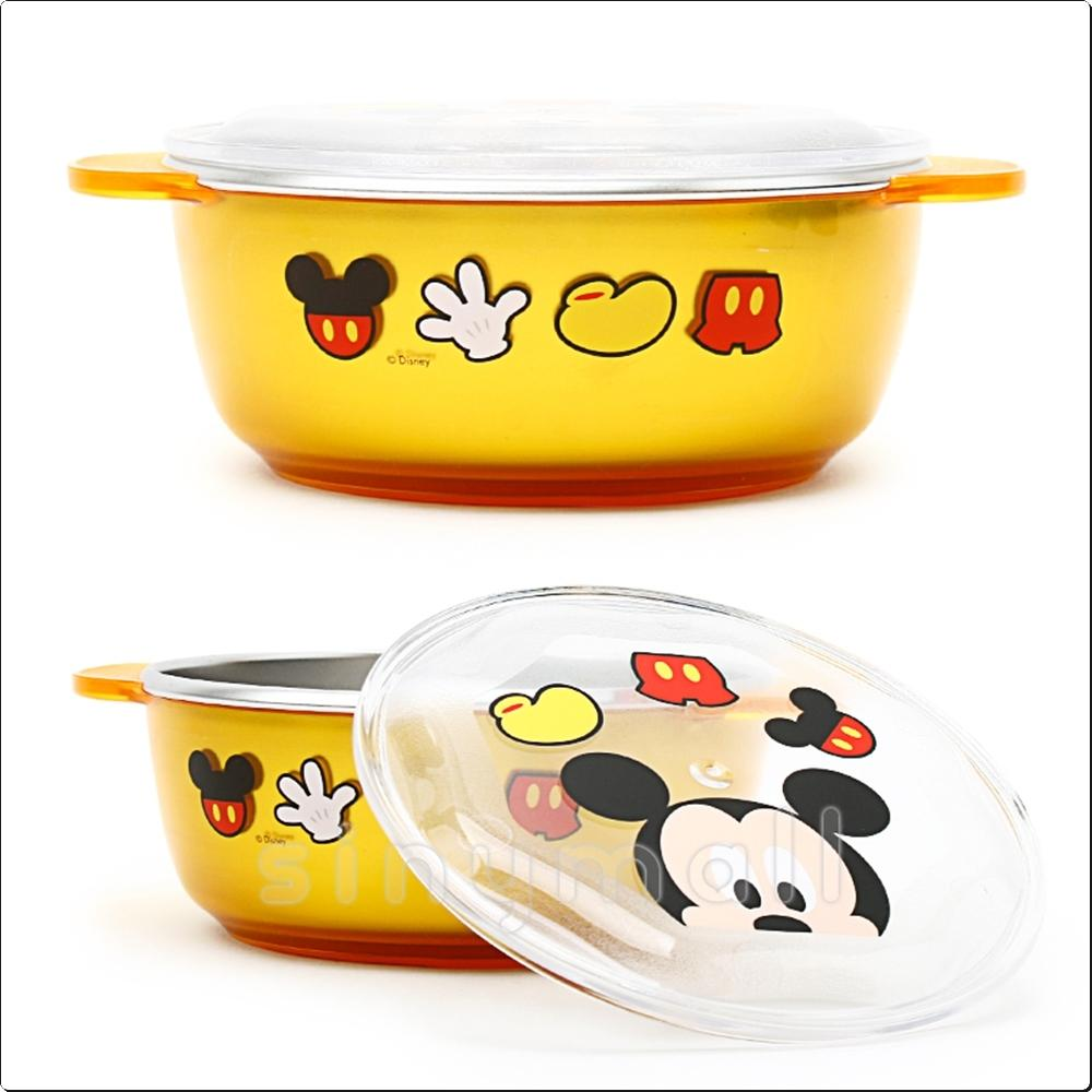 디즈니 미키 투명논슬립뚜껑스텐대접(옐로우)(052881) 캐릭터 캐릭터상품 생활잡화 잡화 유아용품