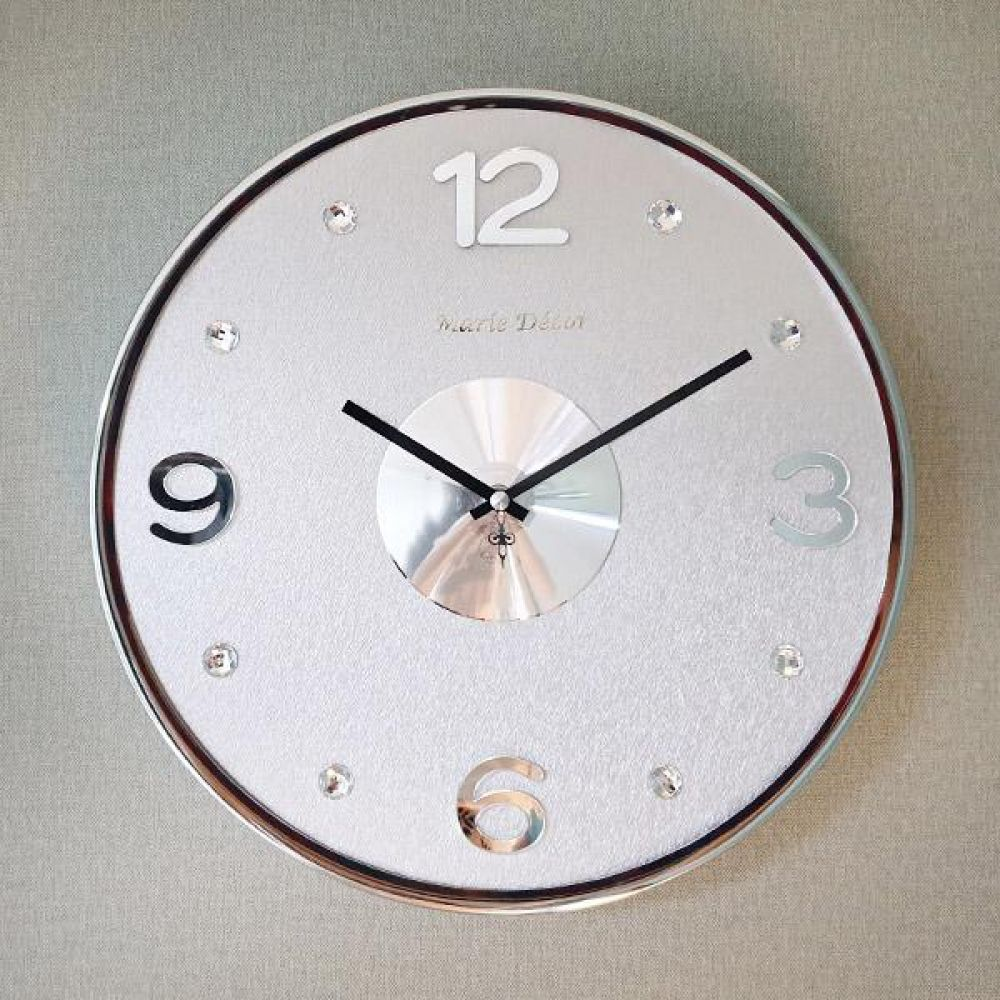 글리터 무소음 벽시계 (실버화이트) 벽시계 벽걸이시계 인테리어벽시계 예쁜벽시계 인테리어소품
