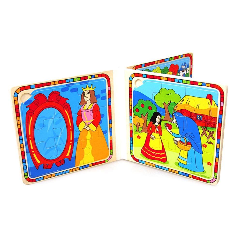 일곱난쟁이 4살 아이 유아 원목 퍼즐 동화책 백설공주 퍼즐 블록 블럭 장난감 유아블럭
